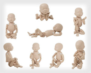 Some of the many poses that StandInBaby™ can make